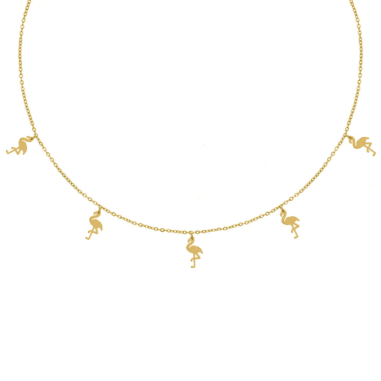 Gouden ketting met meerdere flamingo's