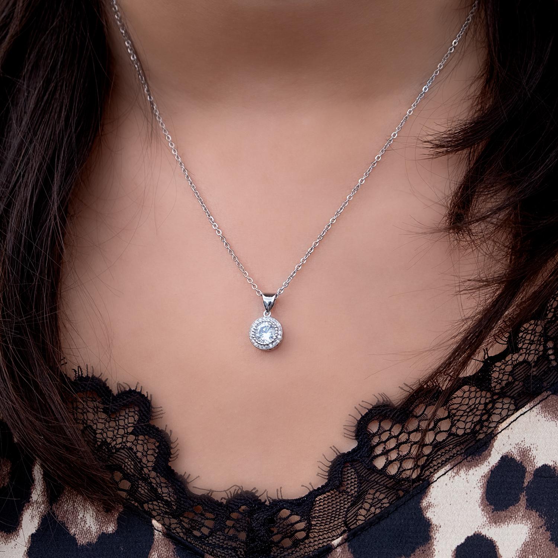 Zilveren ketting met sparkle hanger met leopard top