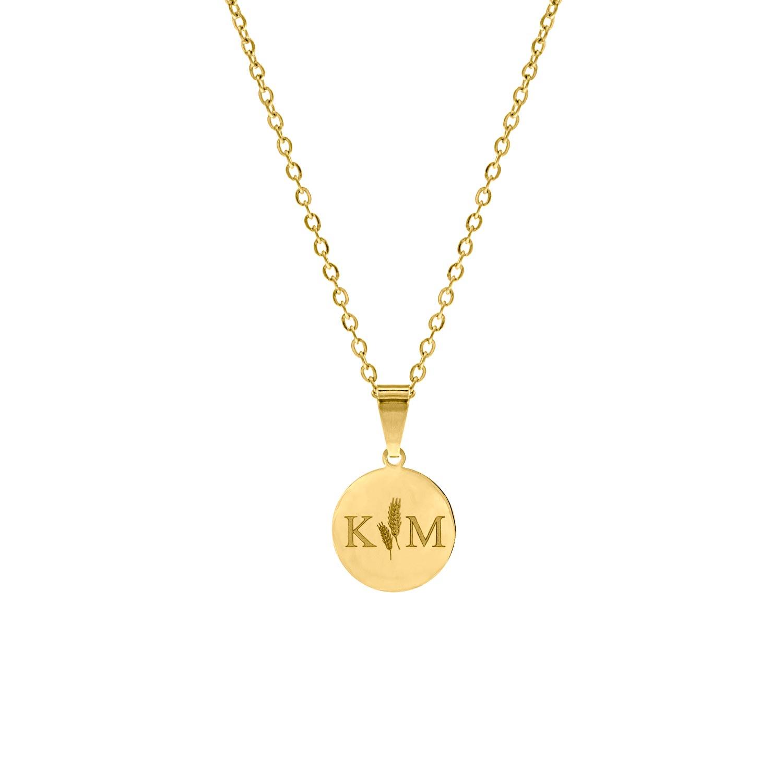 Initialen ketting met twee letters goud