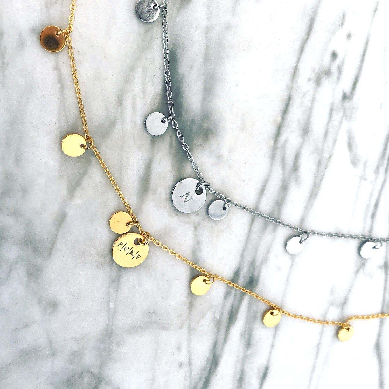 Graveerbare muntjes ketting in het goud en zilver op plaatje