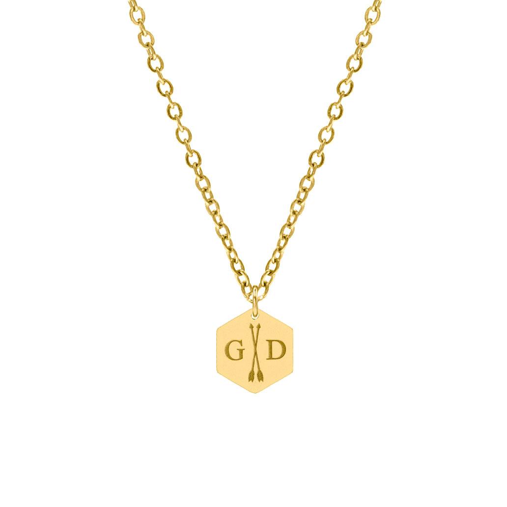 Hanger ketting 2 initialen goud