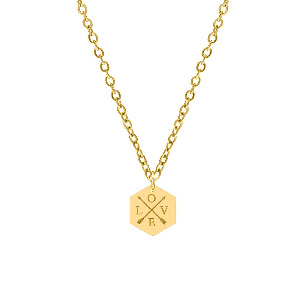 Hanger ketting 4 letters goud kleurig