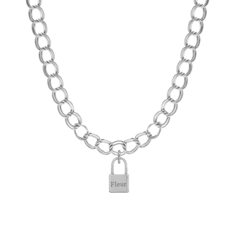 Zilveren schakelketting met graveerbaar slotje