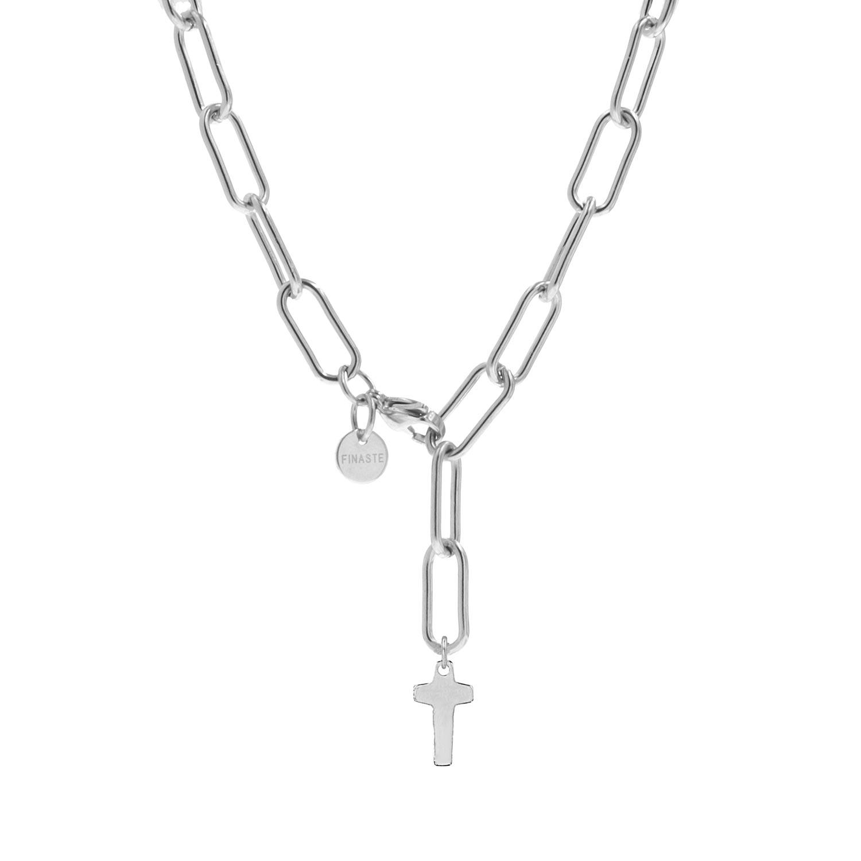 Schakelketting met kruis zilver