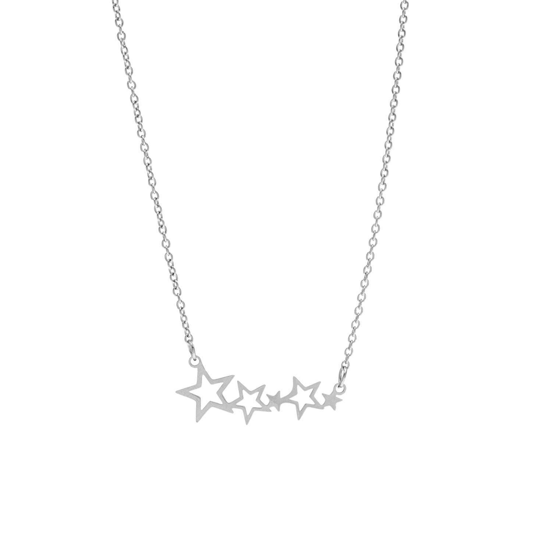 Ketting met sterretjes hanger zilver
