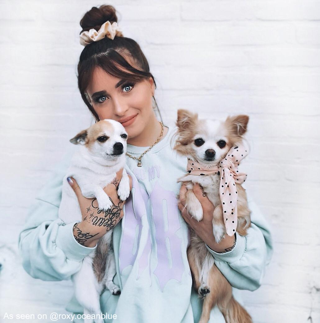 Slotjes ketting gedragen door influencer met hondjes