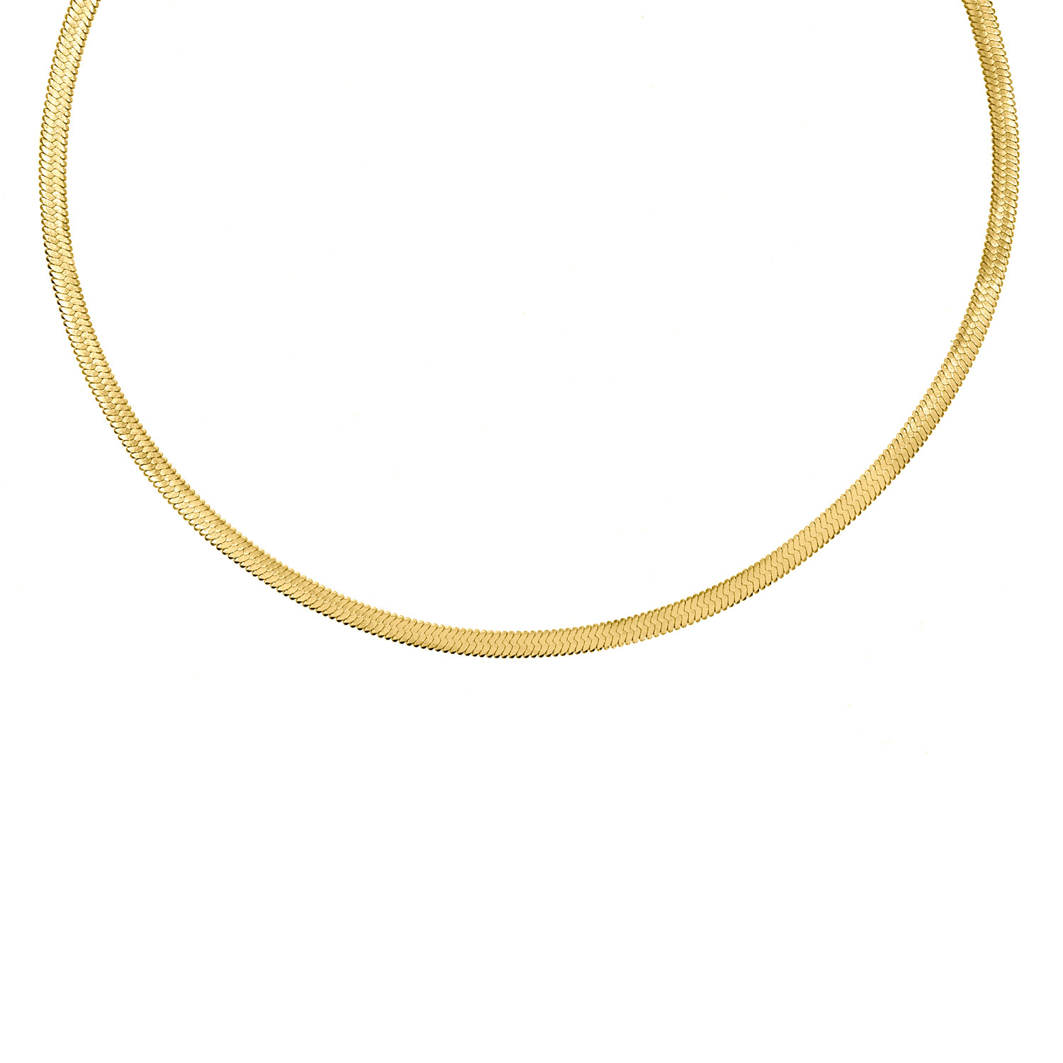 Platte Choker ketting gold plated
