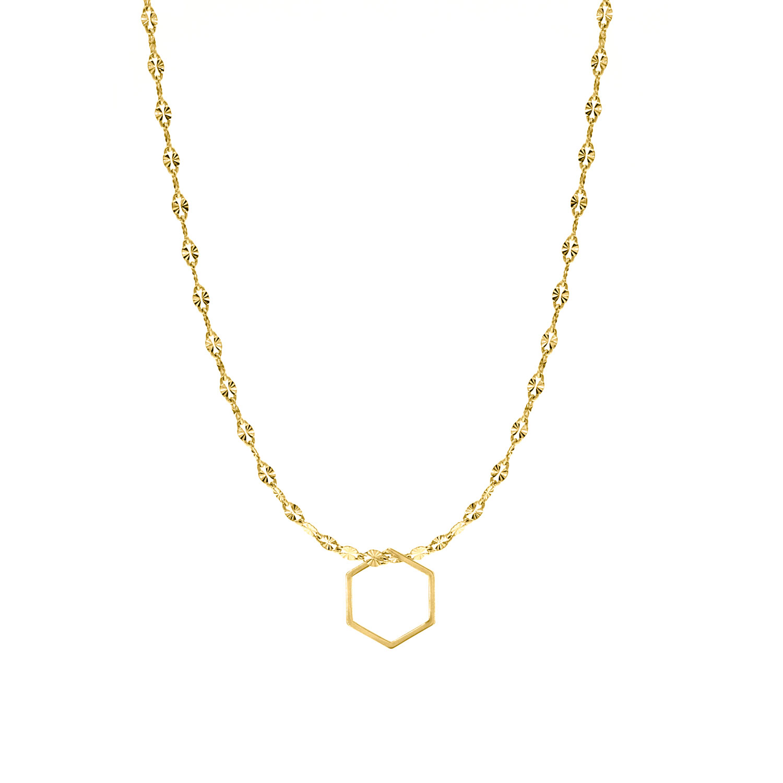 Goudkleurige ketting met hexagon hanger