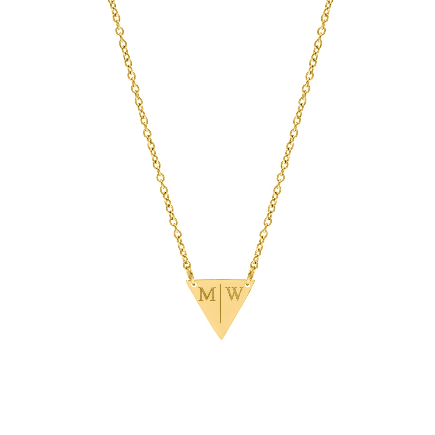 Driehoek ketting 2 letters gold plated