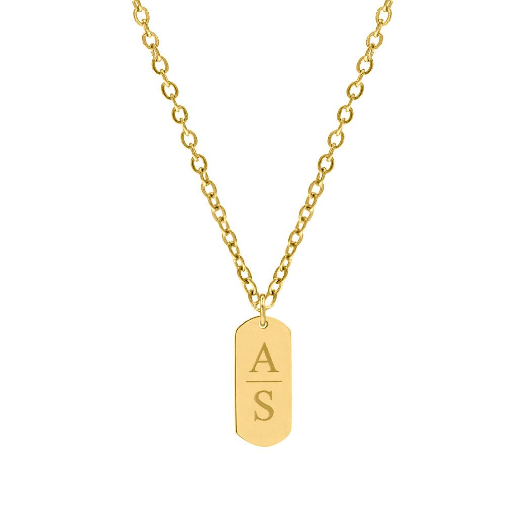 Graveerbare Bar Ketting 2 Letters Goud kleurig