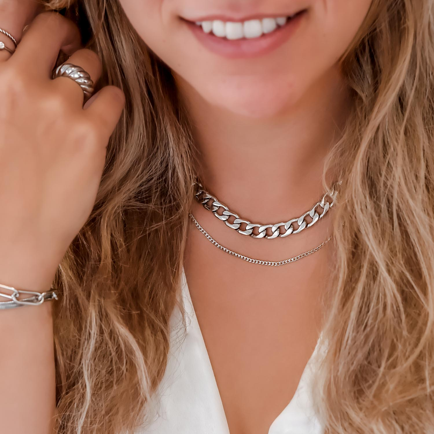 Zilveren look met chain kettinkjes en ring