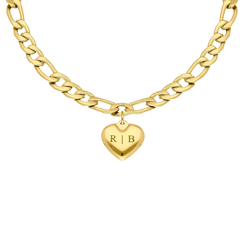Chain ketting hartje graveren goud kleurig