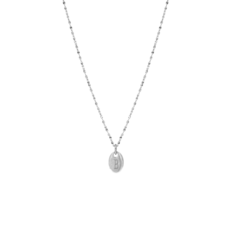 Zilveren ketting met graveerbare ovale hanger