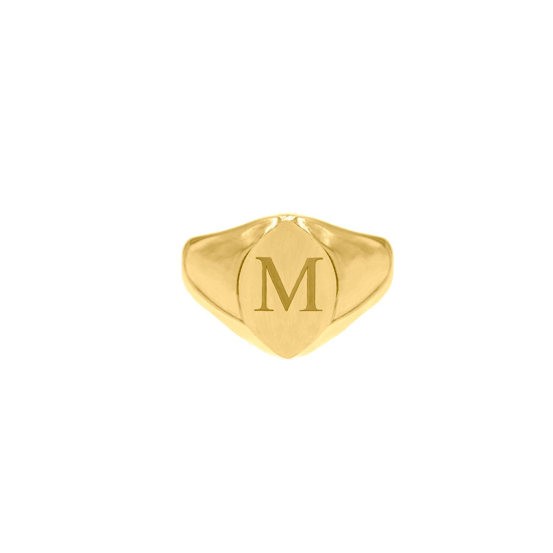 Grote zegelring 1 letter goud kleurig