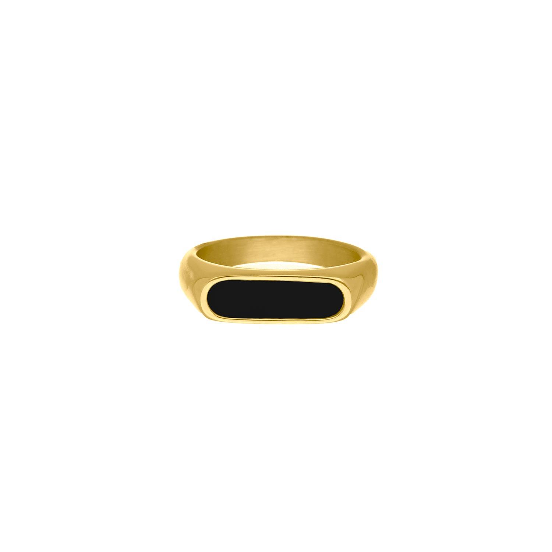 Zegelring zwart kleur goud