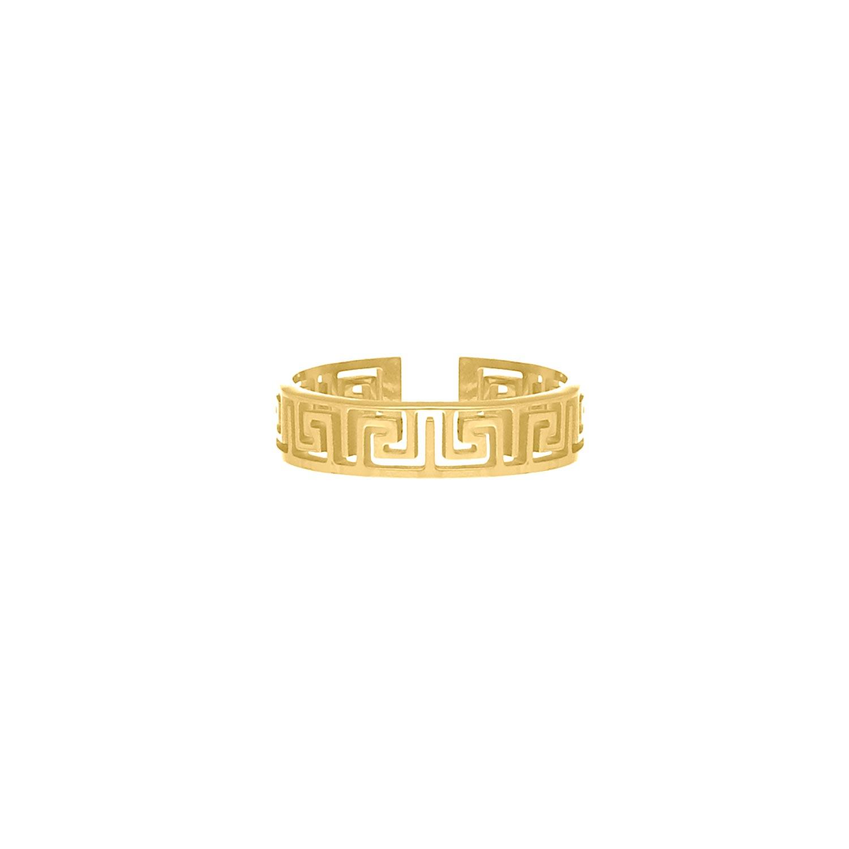 Verstelbare ring met print kleur goud
