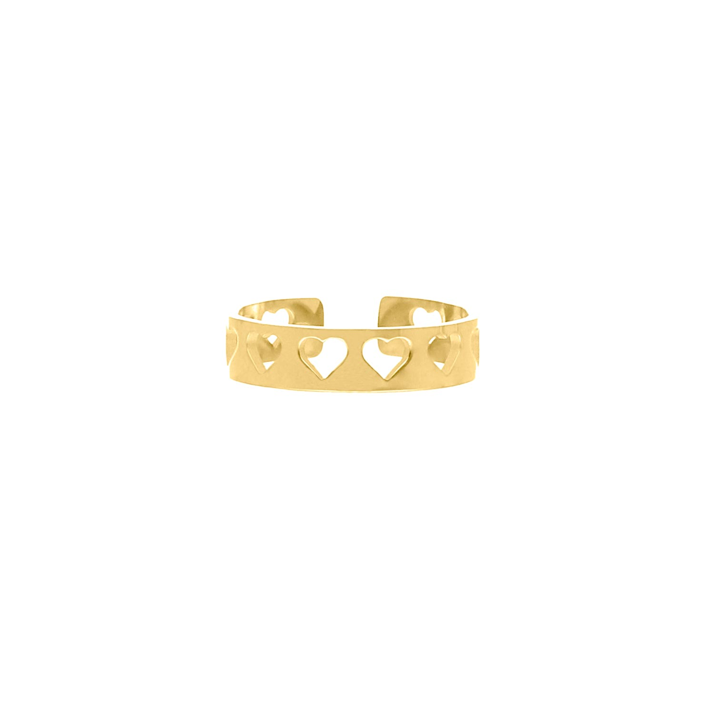 Verstelbare ring hartjes kleur goud