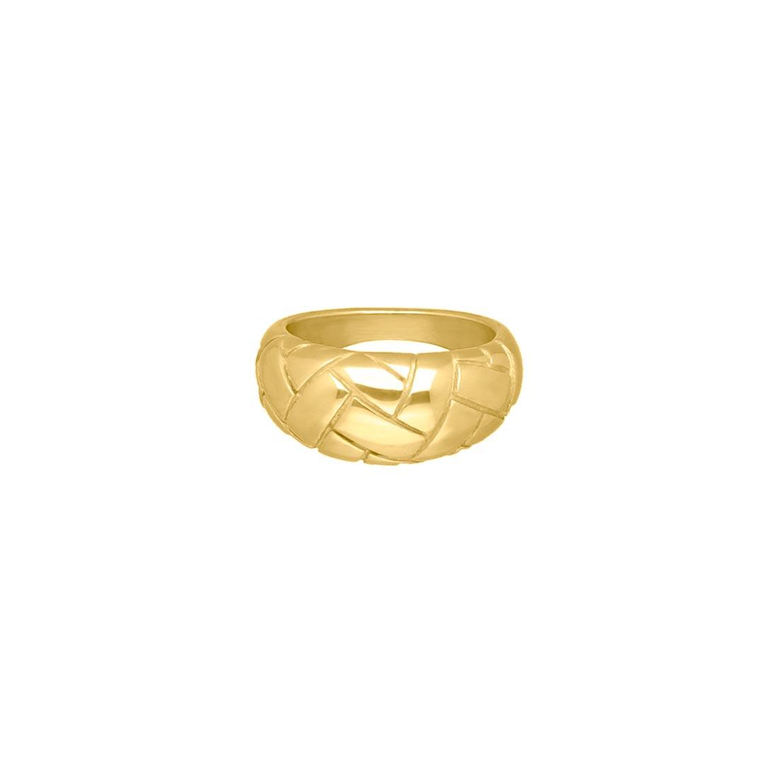 Gevlochten ring goud kleurig