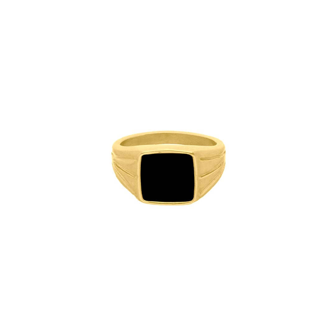 Zegelring zwart chunky kleur goud