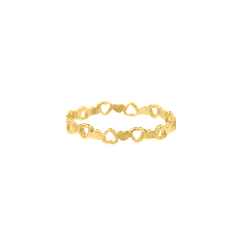 Gouden ring met hartjes
