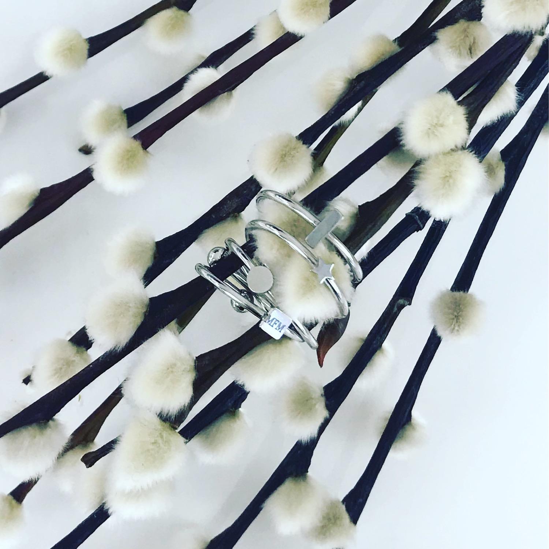 Zilveren ringen om tak met bloemtjes