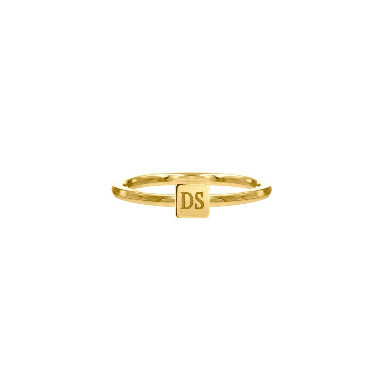 Gouden graveerbare ring met vierkantje
