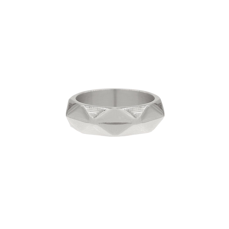 Ring geometrische print zilver