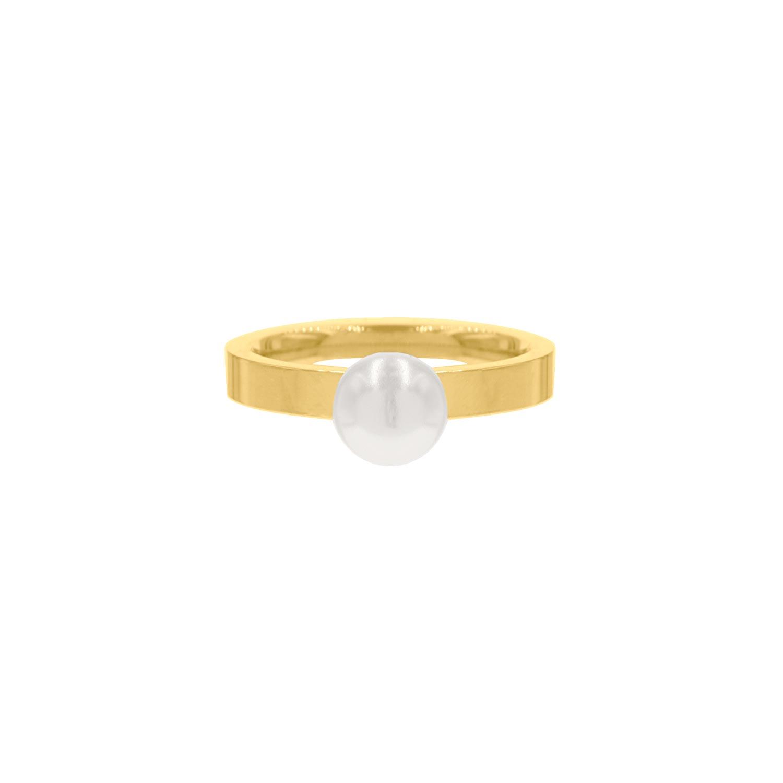 Ring met grote parel goudkleurig