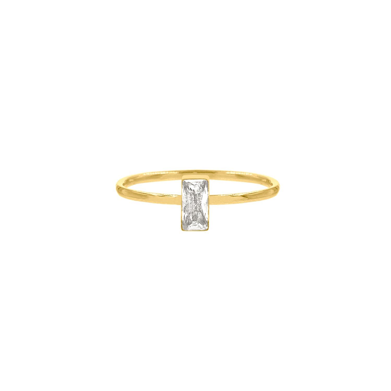 Ring met rechthoekige steen gold plated