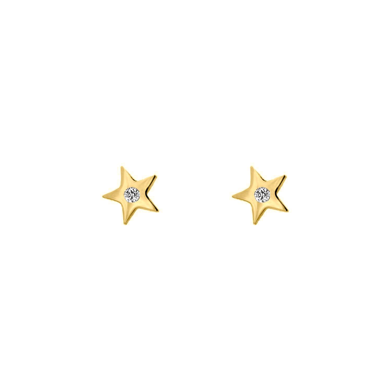 Ster stud oorbellen met steentje goud kleurig