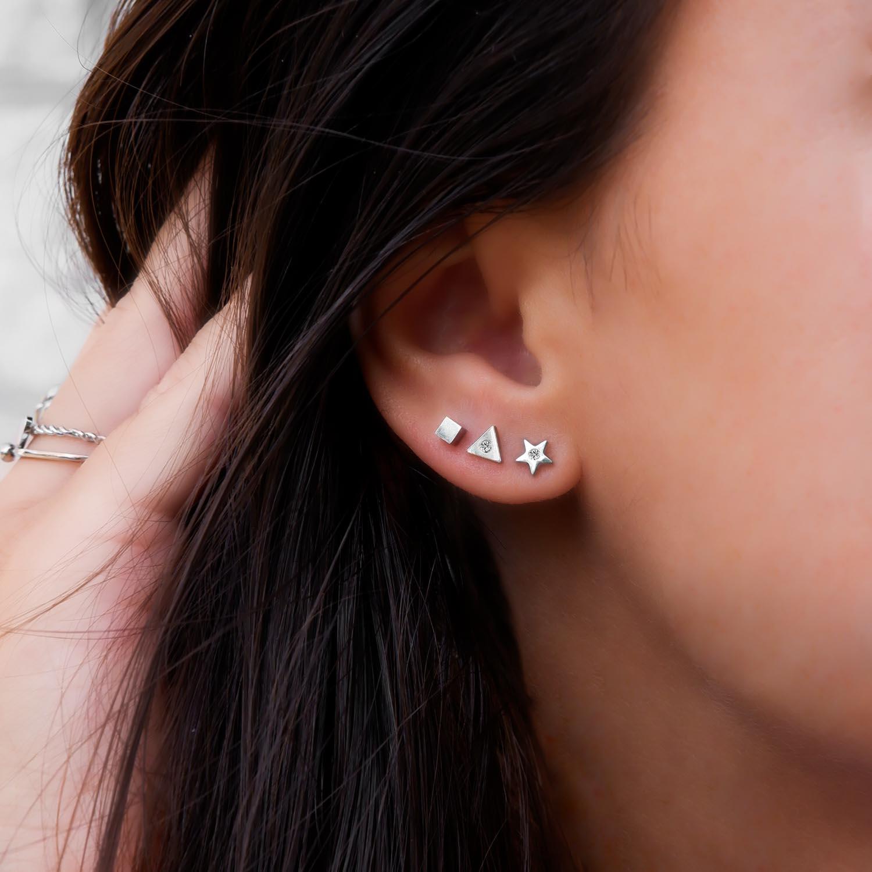 Zilver kleurige oorbellen combinatie