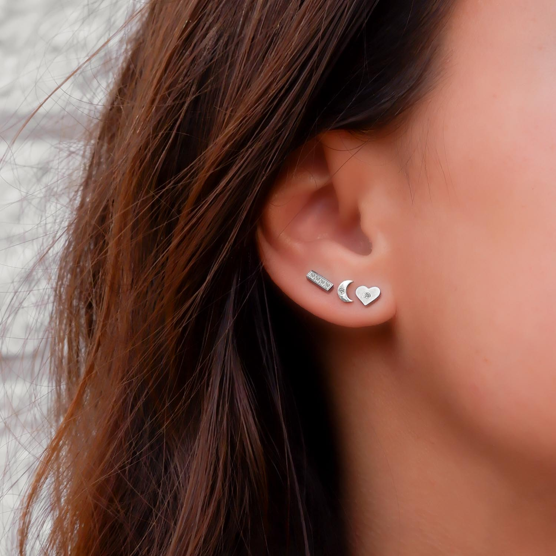 stud oorbellen van finaste in het oor van stainless steel