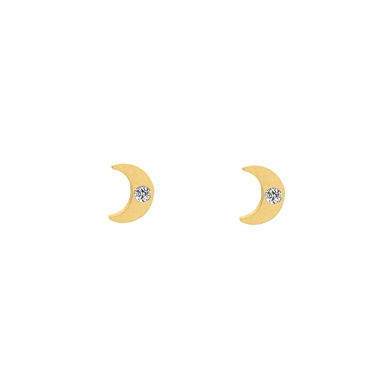 Stud oorbellen maantje met steentje goud kleurig