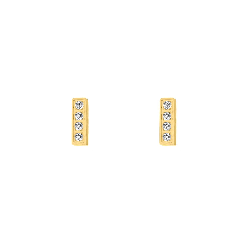 Bar stud oorbellen met steentjes goud kleurig