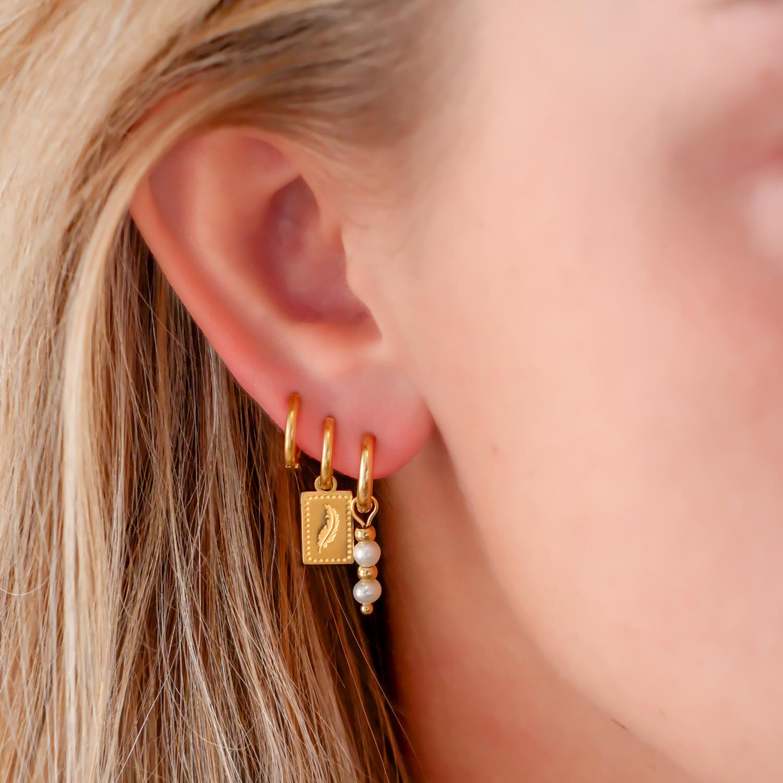 Parel oorbelletjes met veertjes oorbellen gecombineerd