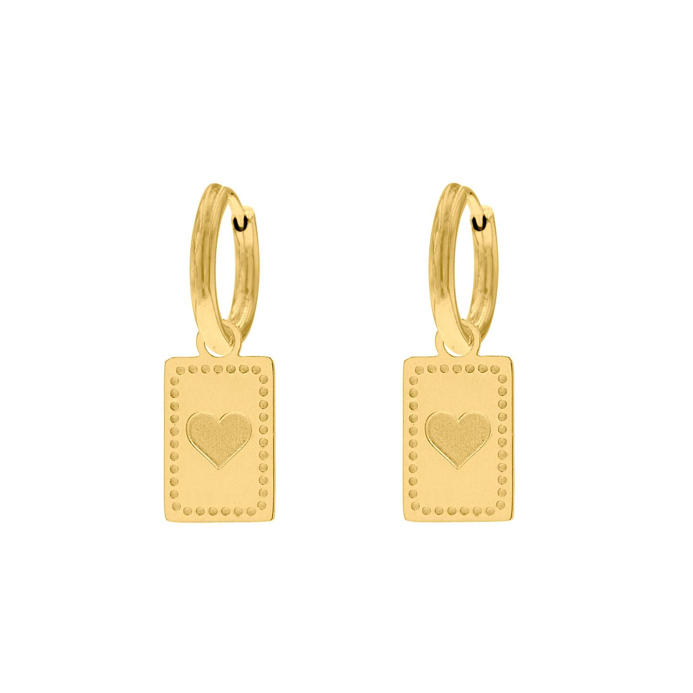 Hanger oorbellen met hartje gold plated