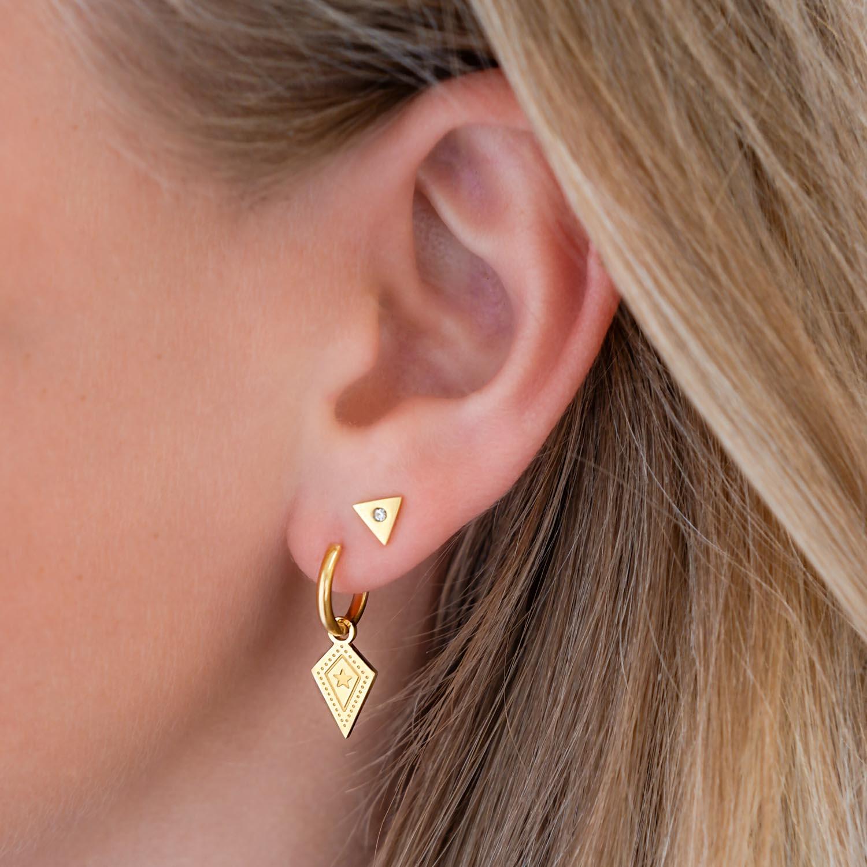 Goud kleurige earparty met sterretjes oorbellen