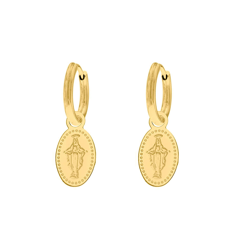 Oorbellen charm Maria kleur goud