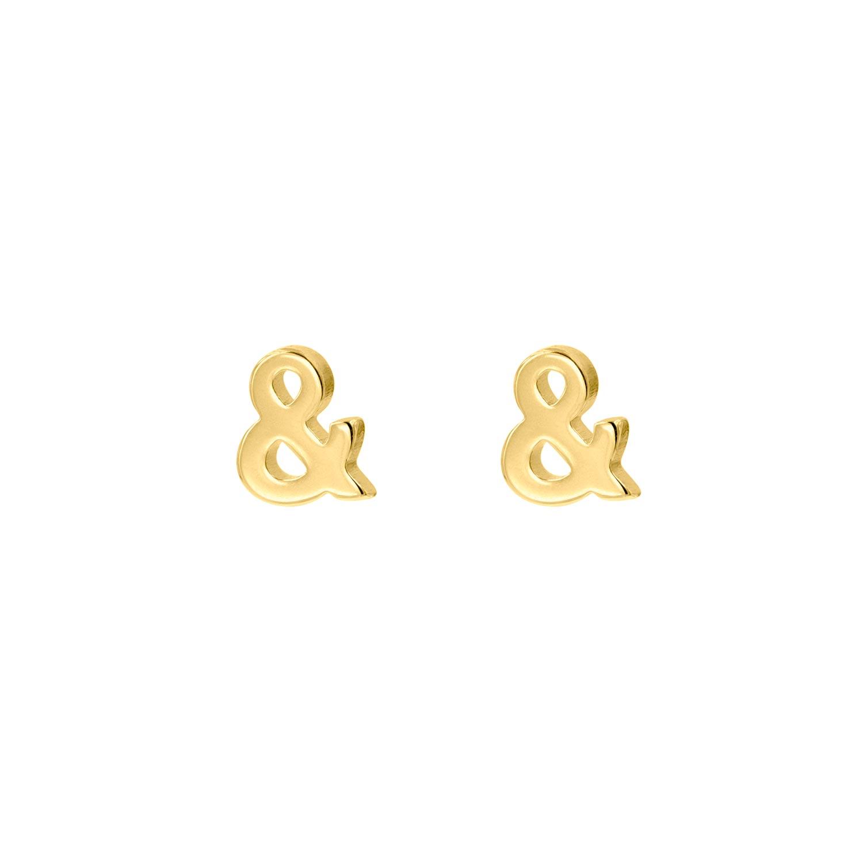 Gouden stud oorbellen & teken