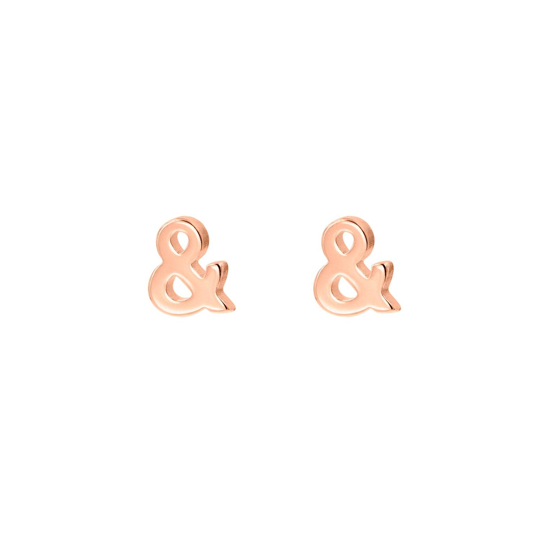 Rose gouden stud oorbellen & teken