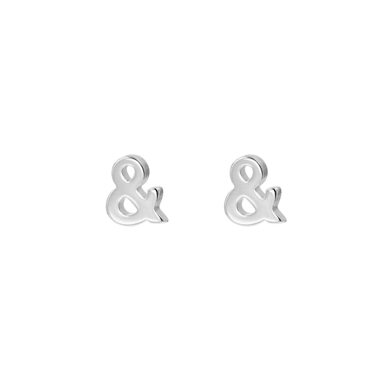 Zilver  stud oorbellen met & teken