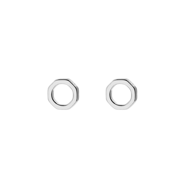 Zilveren hexagon stud oorbellen