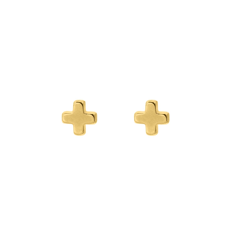 Gouden plus stud oorbellen