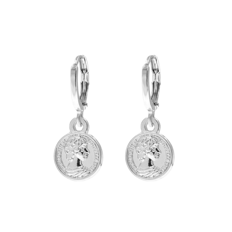 Zilveren oorbellen met muntje