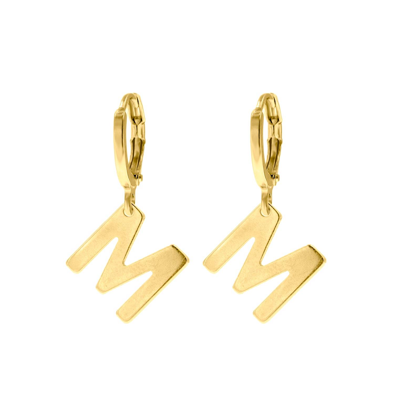 Gouden initial oorbellen