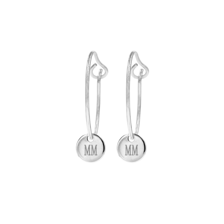 Zilveren graveerbare oorbellen met muntje