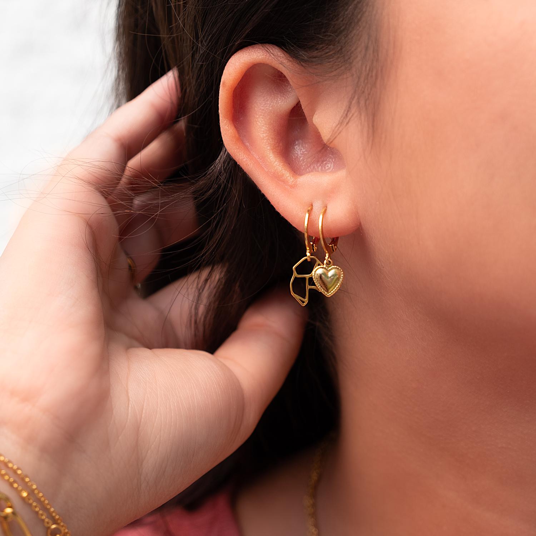Gouden oorringetjes met origami oorbellen en hartje