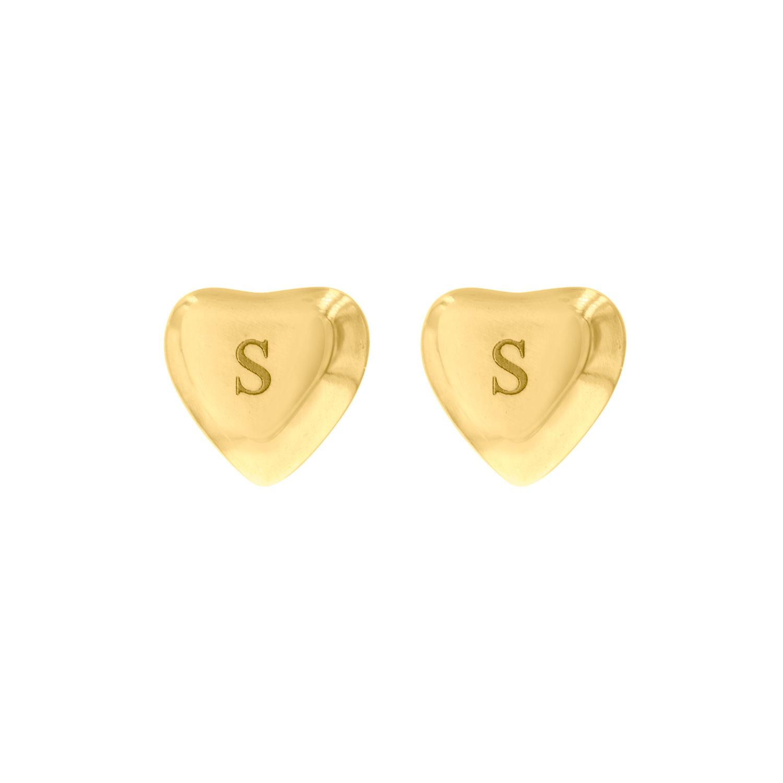 Gouden graveerbare oorbellen in hart vorm