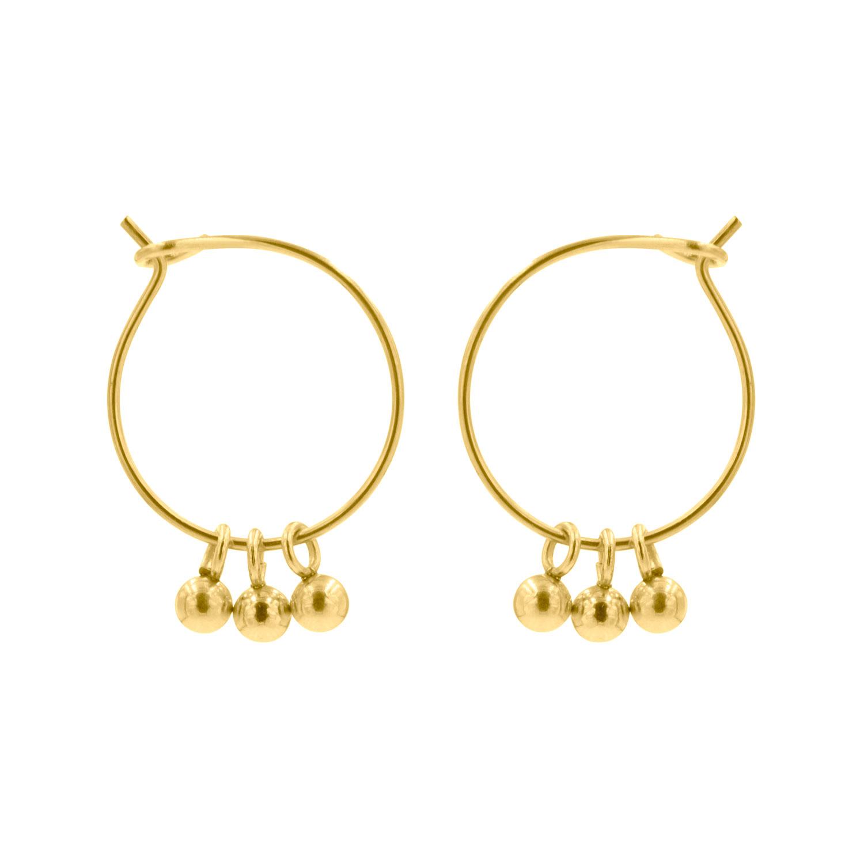 Gouden oorringetjes met bolletjes