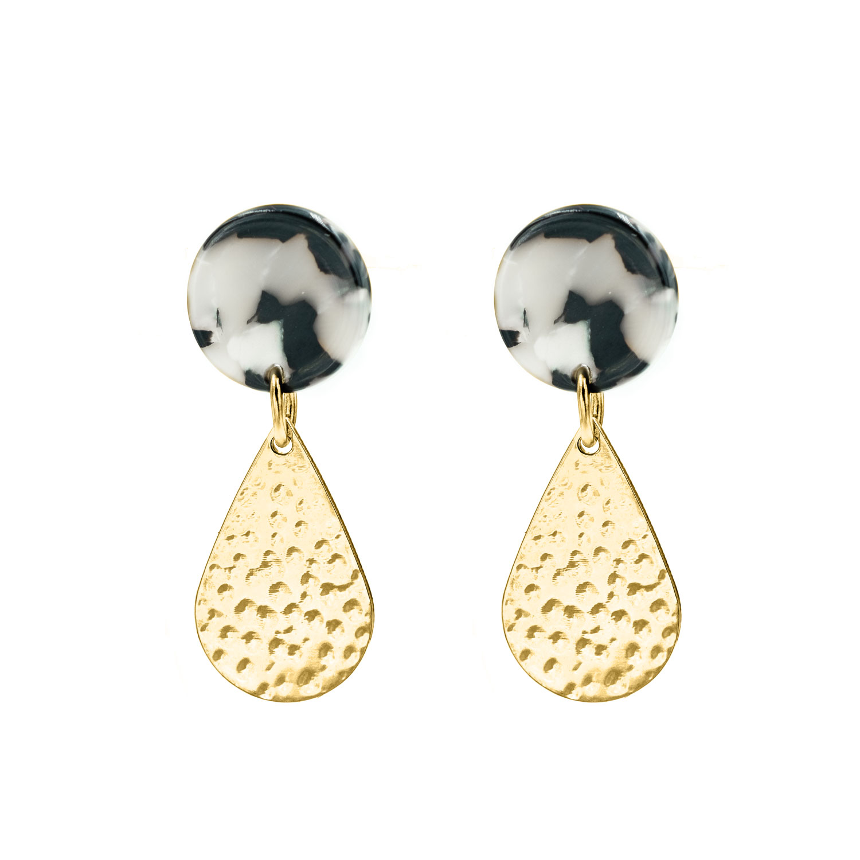 Gouden oorbellen druppel marble